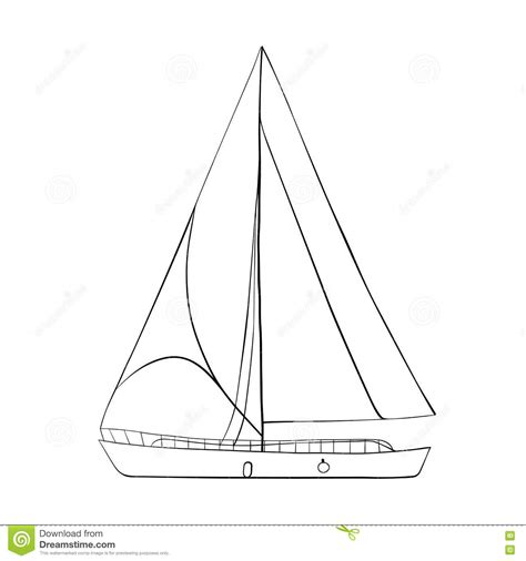 sailboat outline images contour of sailboats isolated on white stock vector