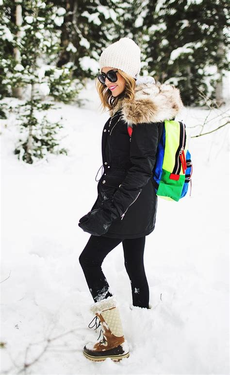 snow outfits with leggings and boots black parka snow and snow outfit on pinterest