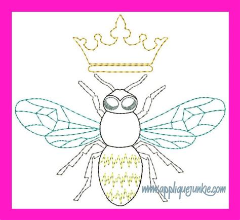 pattern bee vintage embroidery all girls vintage queen bee embroidery design