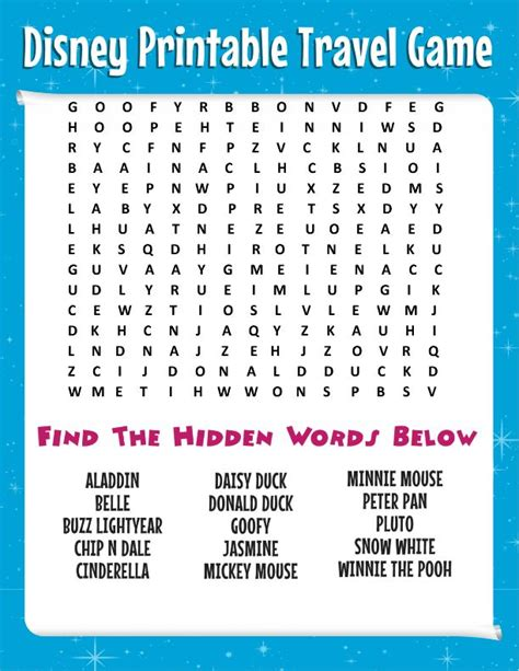 printable word search vacation road trip tips bring this free disney word search more