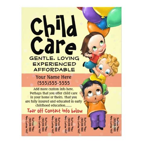 child care babysitting day care tear sheet 8 5 quot x 11