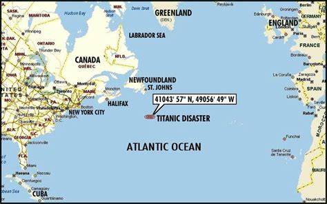 Where Abouts Did The Titanic Sink where did the titanic sink on map america the sinking of the rms