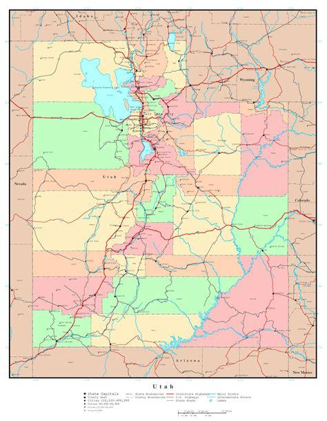 road map of utah large detailed administrative map of utah state with roads