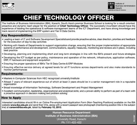 chief technology officer vacancy at institute of business