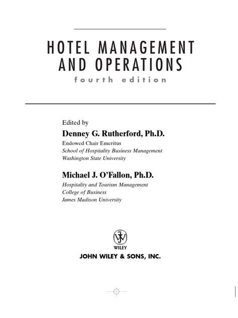 Marriott Revenue Management Study Mba Operations Management by Hotel Management And Operations Ebook Free Free