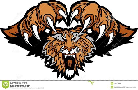 tiger mascot pouncing vector logo stock vector image