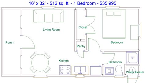 portable cabin floor plans derksen 16 x 32 512 sq ft 1 bedroom factory