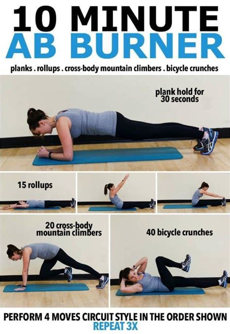 10 minute no equipment arm workout 10 minute ab burner workout