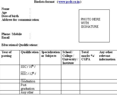 biodata format for new resume sle freshers application experienced