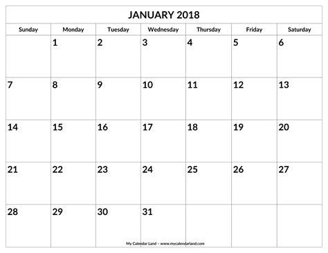 printable calendar 2018 to write on january 2018 calendar my calendar land
