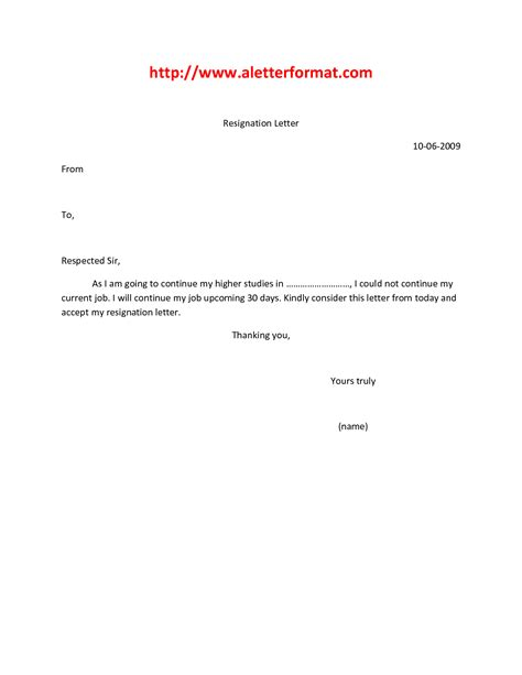 resignation letter format best format how to write a resignation letter for work simple notice