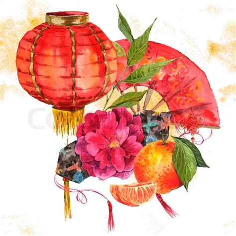 new year flower drawing watercolor background new year element