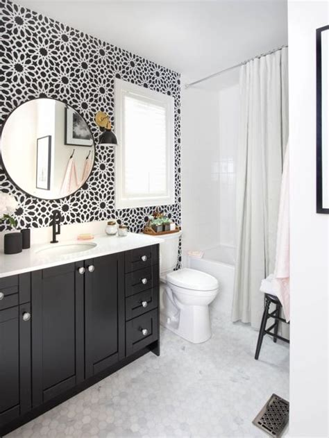 black and white bathroom houzz