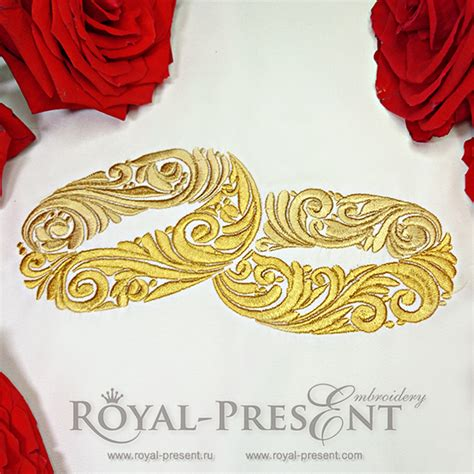 embroidery wedding gold wedding ornamental rings machine embroidery design