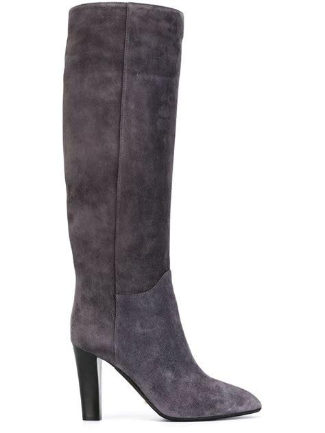 high heel grey boots sergio high heel knee boots in gray lyst
