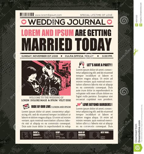 newspaper birthday card template newspaper wedding invitation design template stock vector