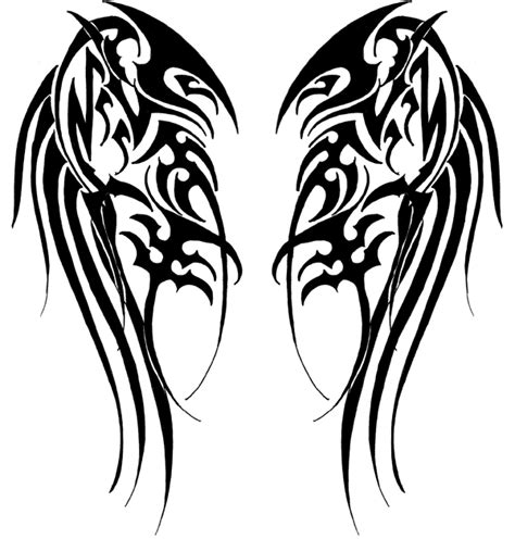 tribal angel wing tattoos tribal wing line clipart best