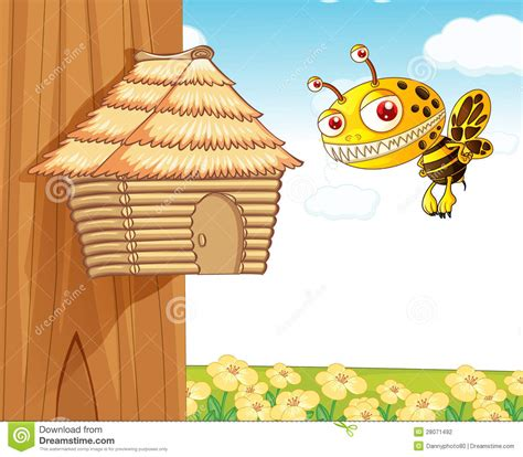 honey bee house plans honey bee and wooden house stock photography image 28071492