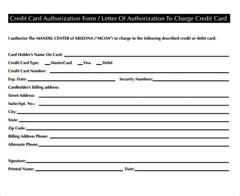 Credit Card Letter Of Authorization Template by 20 Letter Of Authorization Forms Sles Exles
