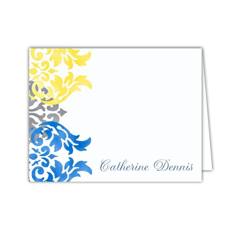 blue damask baby shower thank you notes
