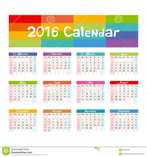 2016 calendar illustration vector kids hand made stock