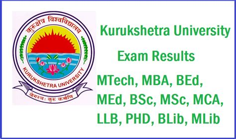 Mba After M From Kuk by Kurukshetra Results Mtech Mba Bed Med