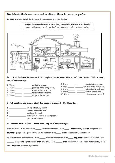 house printable exercises 100 parts of the house worksheet face parts esl