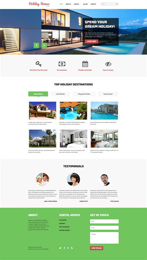 homes websites home rent website template