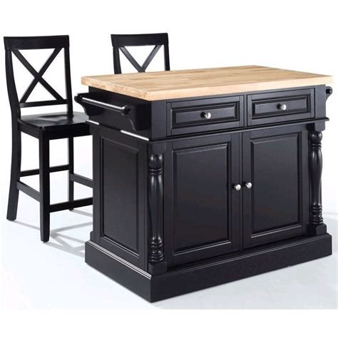 Crosley Butcher Block Top Kitchen Island Crosley Oxford Butcher Block Top Kitchen Island With Stools In Black Kf300063bk