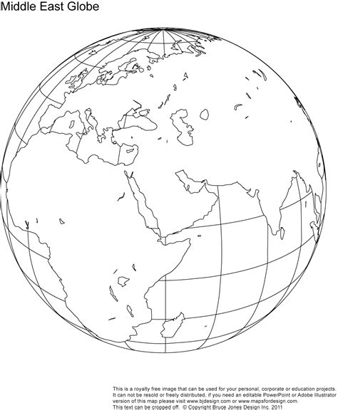printable world map for globe blank map of asia and middle east