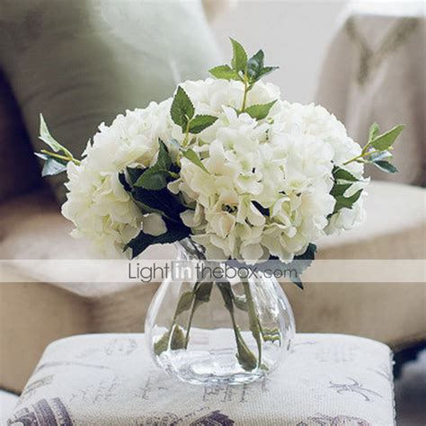 Flowers In White Vase by California Five White Hydrangeas Artificial Flowers With