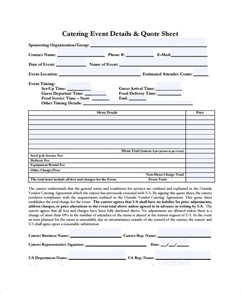 Request For Catering Template Sle Catering Quote 6 Documents In Pdf Word