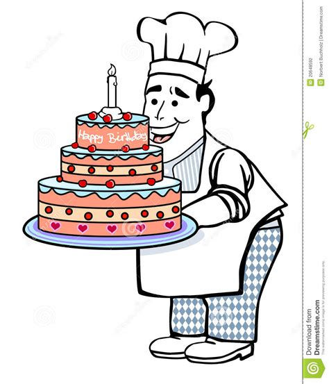 Kitchen Settings Design by Baker With Birthday Cake Stock Photography Image 20648592