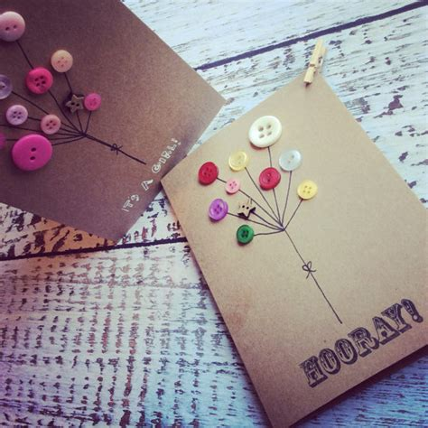 Handmade Cards With Buttons - handmade greeting card button balloon felt