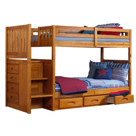 bunk beds with storage stairs twin over twin staircase bunk bed with storage drawers
