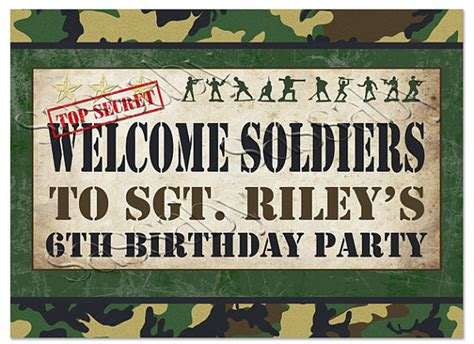 free printable army party decorations army men welcome sign instant download diy partially
