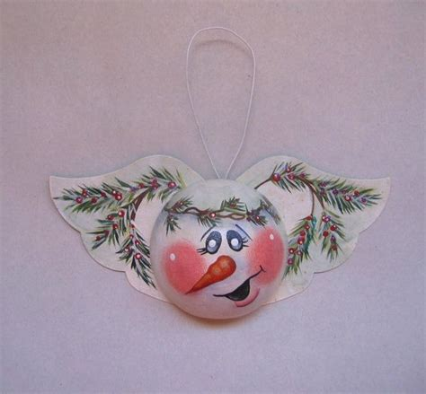 snow angel ornament tole painted christmas decoration