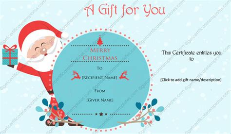 printable gift certificate from santa christmas card templates templates for microsoft 174 word