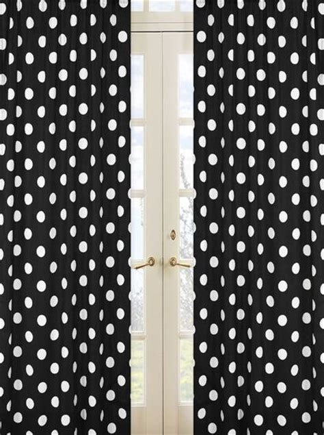 polka dots curtains black and white polka dot print 84 inch curtain panels for