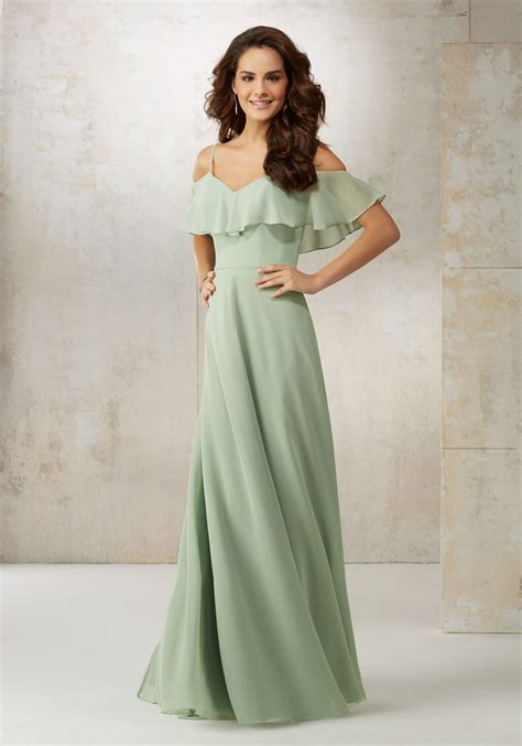 chiffon the shoulder bridesmaids dress style 21509