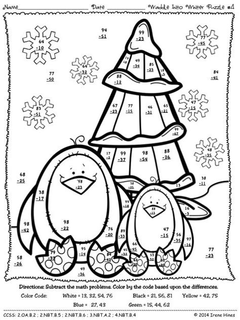 christmas math coloring pages 4th grade waddle into winter penguin math printables color by the