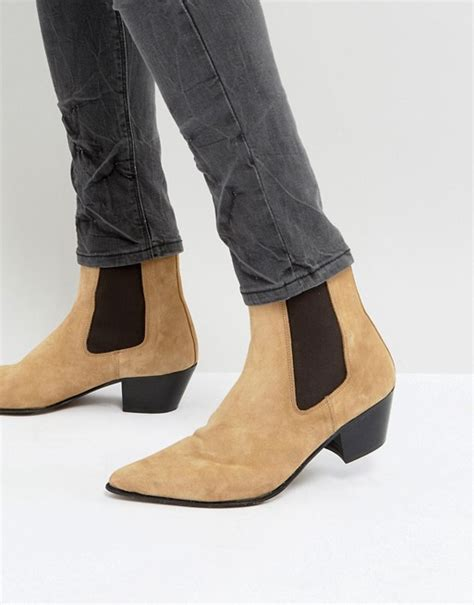 mens stacked heel boots asos asos chelsea boots in suede with stacked heel