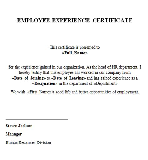 Mba Work Experience Letter by Experience Certificate Format Hr Manager Ameliasdesalto