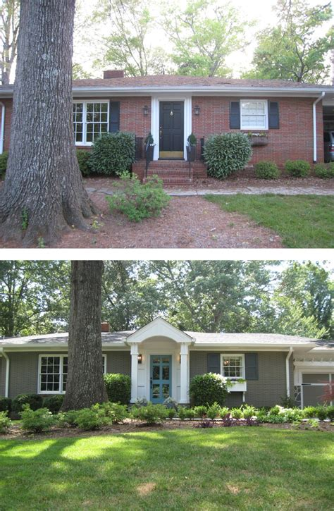 before after painted brick ranch style home brick sherwin williams backdrop 7025 trim