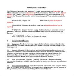Marketing Contract Template by Sle Consulting Contract Template 9 Free Documents In