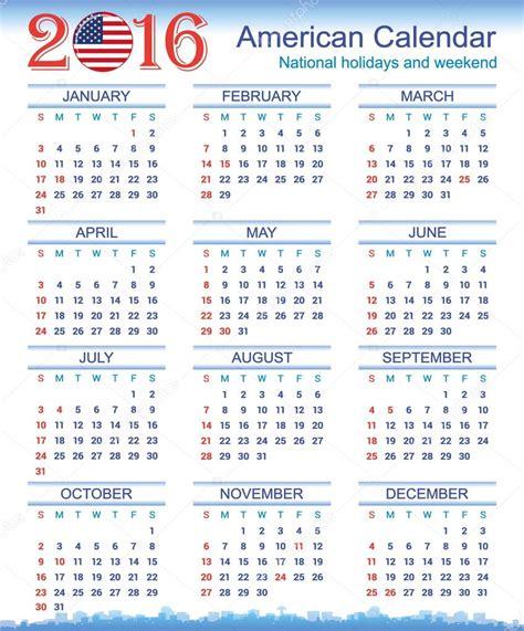 Calendario Americano Calend 225 Americano De 2016 Vetor De Stock