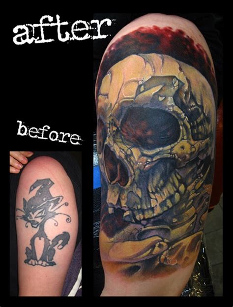 skull cover up tattoo skull cover up arm color by jon glahn tattoonow