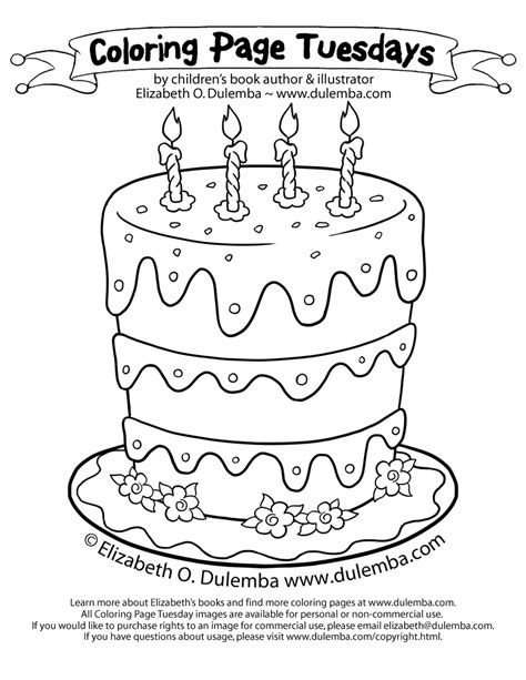 dulemba coloring page tuesdays birthday cake for 5th