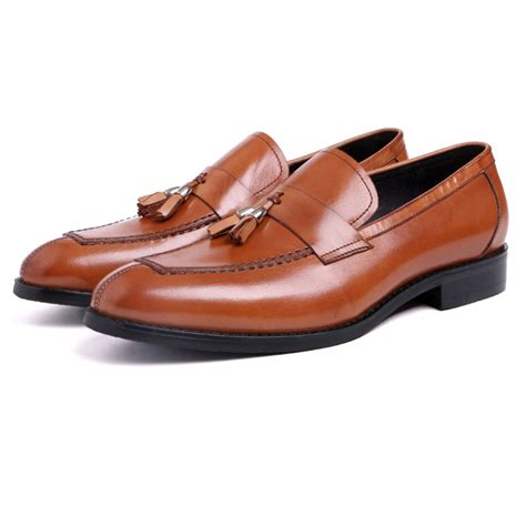 new real leather s dress shoes formal slip on loafers
