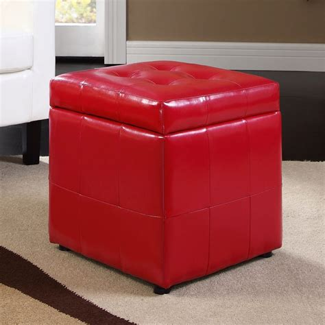 square ottoman storage shop modway volt red square storage ottoman at lowes com